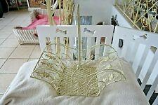 Shabby Deko Korb Haus Garten Küche Bad Utensilien Weiß Gold Eisen 20x47x25cm NEU