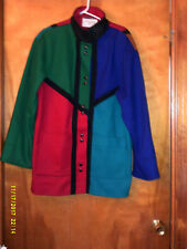 Juniors Coat*COLOR BLOCKED*From the 1980's*BY Int'l Scene*WOOL*Sz 9/10*VTG