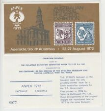 Stamp 1972 ANPEX exhibition Adelaide South Australia promotional card unused