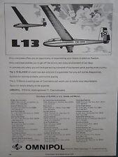 6/1975 PUB OMNIPOL PLANEUR L-13 BLANIK PRAHA SAILPLANE GLIDER ORIGINAL AD