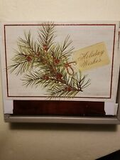Red Pine Berry Christmas Tree Cards Red Glitter Foil Trim Envelopes