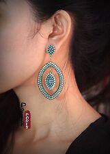 orecchini A perno Etnico Ovale Blu Pallido Verde Mini Perla Vintage Art Deco