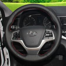 BANNIS Black Leather Steering Wheel Cover for Hyundai Elantra 4 Solaris Accent