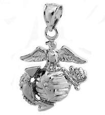 New .925 Sterling Silver USMC Marine Corps Insignia Pendant