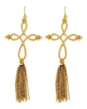 Long Gold Tassel Chain Twist Cross Earrings Chain Earrings Gold Earrings 5'
