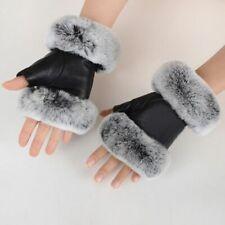 Women Winter Fingerless Gloves Leather Rabbit Fur Wrist Warm Half Finger Mittens