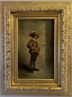 19 cent. Antique dated 1883 original Oil Painting on canvas, Cavalier, Signed
