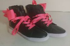 Jojo Siwa Girl's High Top Sneakers Shoes Size 2.5 Black With Pink Bow And Laces