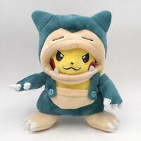"Pokemon Pikachu with Snorlax Suit Cloak Plush Toy Kabigon Stuffed Animal Doll 8"""