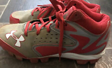 Pre-Owned Boys Under Armour Baseball Cleats Red Gray Size 6 1/2