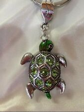 Brighton MARVELS TURTLE Green Enamel Swarovski Crystal KEY FOB KEY CHAIN NWTs