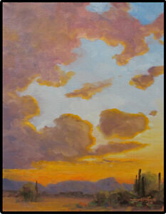 Jeff Love Art Original Oil Painting Desert Sunset Arizona *Ready to Hang* Signed