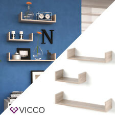 VICCO Wandregal 3er Set Sonoma Eiche 3 verschiedene Größen Hängeregal Büroregal