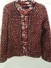ZARA Red Fantasy Tweed Check Jacket Blazer Extra Small XS