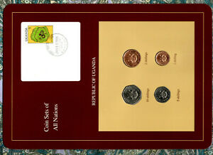 Coin Sets of All Nations Uganda 4 coins all 1987 10, 5, 2, 1 Shillings