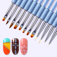Gradient Painting Pen UV Gel Liner Brush Blue Rhinestone Handle Nail Art Tools