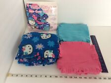 Hello Kitty's Sew Easy Quilt Kit Fabric Squares Pastel Pink Blue Incomplete