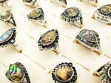 wholesale jewelry lots 5pcs women's Abalone shell silver plated rings free