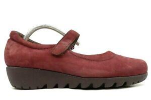 Munro Burgundy Leather Adjustable Mary Jane Walking Wedge Shoes Women's 9.5 W
