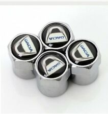 4 X Silber Chrom Reifen Ventil Staubkappen (passt Dacia) - Schwarz