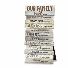 Our Family Will Wall Desktop Plaque Scripture Christian Gift 5 x 10""