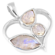 AAAP1276RM 3cts RAINBOW MOONSTONE 925 STERLING SILVER PENDANT JEWELRY