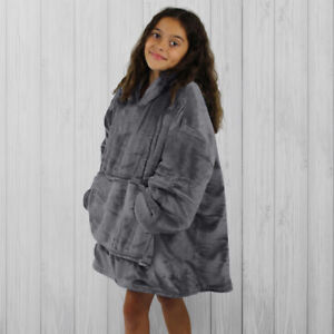Hoodie Blanket by Snoogie Warm Double Layer 430gsm, Unisex Kids Size   Charcoal