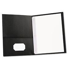 Universal Two-Pocket Portfolios w/Tang Fasteners 11 x 8-1/2 Black 25/Box 57114