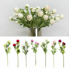 3 Heads Artificial Flower Ranunculus DIY Silk Home Wedding Party Decor Craft DIY