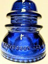 Vintage Hemingray No 42 Glass Insulator Stained Deep Cobalt Blue