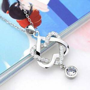 Fashion Silver Plated AAA Zircon Double Heart Pendant Necklace Chain for Women