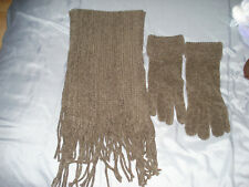 Ladies Brown Chenile Scarf and Gloves Set - Gloves are Size M