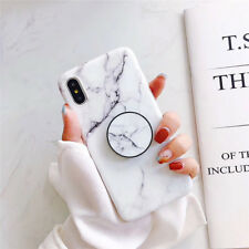 For iPhone XS Max XR 6 7 8 Plus Marble Put Up Holder Stand Soft TPU Case Cover