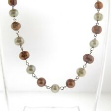 Green and Bronze Fresh Water Baroque Pearl Necklace Choker 925 Sterling silver