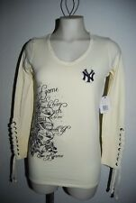 TOUCH Alyssa Milano NEW YORK YANKEES Creme V-Neck Top S NWT Peace Love Baseball