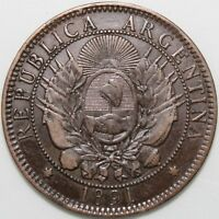 1891 | Argentina 2 Centavos w/Signs Of Over Striking | Bronze | Coins | KM Coins