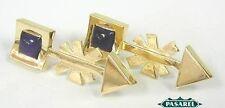14k Yellow Gold Amethyst Designer Chandelier Earrings