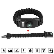 Outdoor Camping Survival Emergency Gear Paracord Compass Bracelet Watch Green