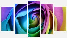 Rainbow Rose - Flower Floral Colourful Wall Art 5 Split Panel Canvas Picture