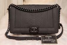VERIFIED Authentic RARE Chanel SO BLACK Python Boy Medium Flap Bag