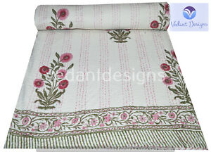 Indian Handmade Queen Cotton Kantha Floral Quilt Throw Blanket Bedspread Vintage