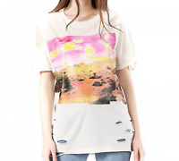 Diesel Women's T-Shirt T-CYNTH Distressed Loose Fit Crewneck Cotton Jersey NWT