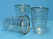 """3 VINTAGE TALL SHOT GLASSES , GILT EDGE AND BANDED 2.25"""" TALL RETRO 50'S"""