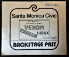 """Vintage 1986 """"Venom / Exodus / Hirax"""" Backstage Pass"""
