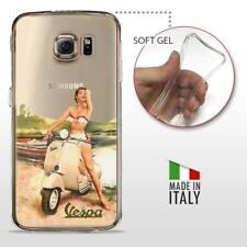Samsung Galaxy S6 TPU CASE COVER GEL PROTETTIVA TRASPARENTE VINTAGE Vespa Pinup