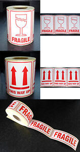 Top Quality FRAGILE or THIS WAY UP Labels 75mm x 105mm Glass Arrows Multi Choice