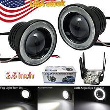 "2x 2.5"" 30W COB LED Fog Light Projector Car + white Halo Angle Eyes Ring Bulb"