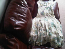 Designer Monsoon silk pastel cream green flowers dress size 10 lined maxi