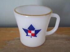 VINTAGE RALSTON PURINA GOLD RIMMED MILK GLASS FEDERAL D-HANDLE COFFEE MUG