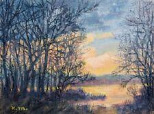 February Sky - original 6 X 8 inch oil skyscape on canvas by K. McDermott